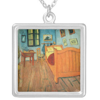 Bedroom in Arles by Vincent Van Gogh Square Pendant Necklace