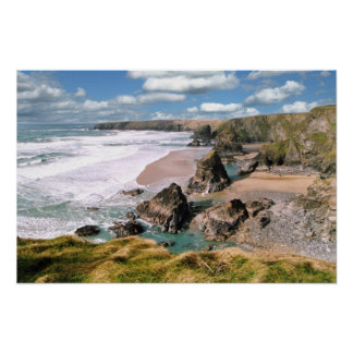 Bedruthan Steps, Cornwall Poster