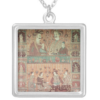 Bedspread depicting native potentates silver plated necklace