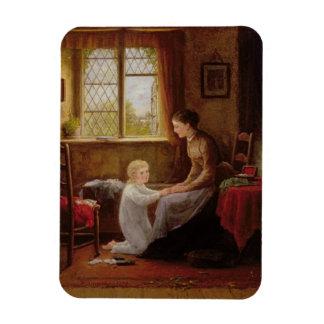 Bedtime, 1890 (oil on panel) rectangular photo magnet