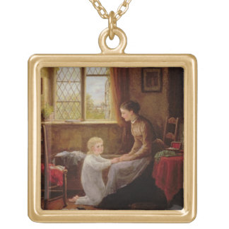 Bedtime, 1890 (oil on panel) square pendant necklace