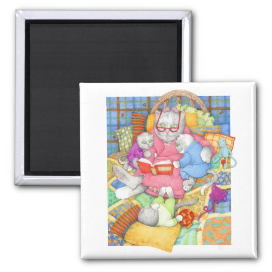 "Bedtime Story 2"" Square Magnet"