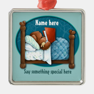Bedtime story bear and bunny christmas ornament
