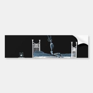 Bedtime X-Ray Skeleton Black Blue Car Bumper Sticker