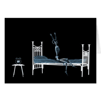 Bedtime X-Ray Skeleton Black Blue Greeting Card