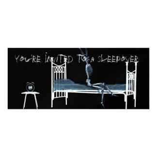 """Bedtime X-Ray Skeleton Black Blue 4"""" X 9.25"""" Invitation Card"""