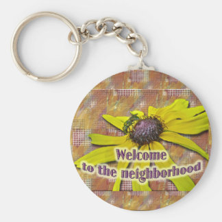 Bee and Black Eyed Susan Welcome Neighbor Basic Round Button Key Ring