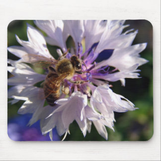 Bee and Blue Flower Mousepads