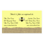 Bee and Burlap Baby Registry Card Pack Of Standard Business Cards