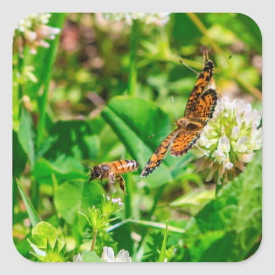 Bee and Butterfly Square Sticker