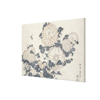 Bee and chrysanthemums canvas print