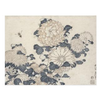 Bee and chrysanthemums postcard