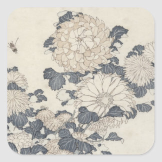 Bee and chrysanthemums square sticker
