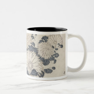 Bee and chrysanthemums Two-Tone coffee mug