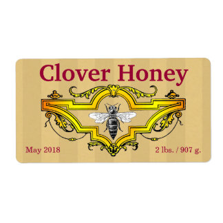 Bee and Clover Honey Jar Shipping Label