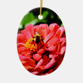 Bee and coral zinnia ceramic oval decoration