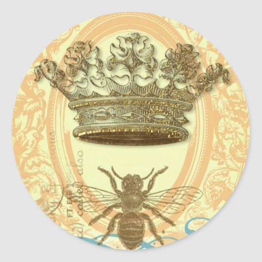 Bee and Crown Classic Round Sticker