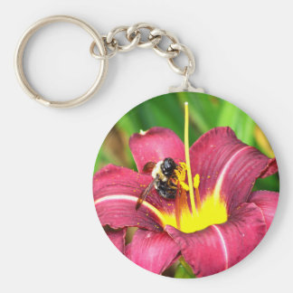 Bee and Daylily Key Ring