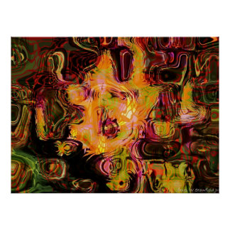 Bee and flower abstract geometry poster