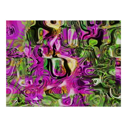 Bee and flower abstract poster