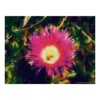 Bee and flower expressionism bold colorful poster