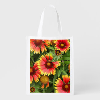 BEE AND FLOWERS REUSABLE GROCERY BAG