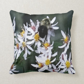 Bee and Flowers Throw Pillow