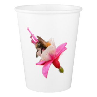 Bee and Fuchsia Paper Cup