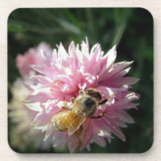 Bee and Pink Flower Coasters