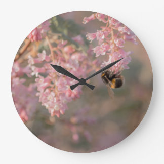 Bee and pink flower macro photograph clock