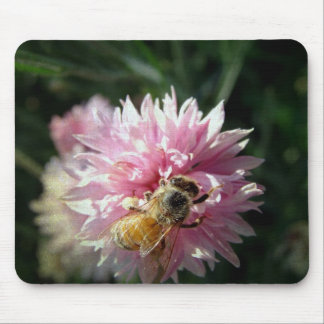 Bee and Pink Flower Mouse Pad