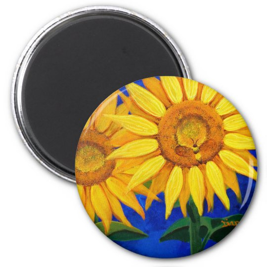 Bee and Sunflower 6 Cm Round Magnet