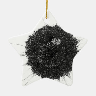 Bee and Sunflower Pencil Sketch Christmas Ornament