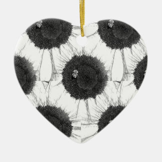 Bee and Sunflower Sketch Design Ceramic Heart Decoration