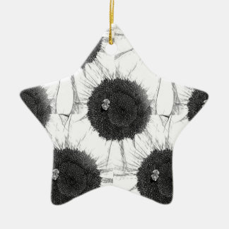 Bee and Sunflower Sketch Design Christmas Ornament