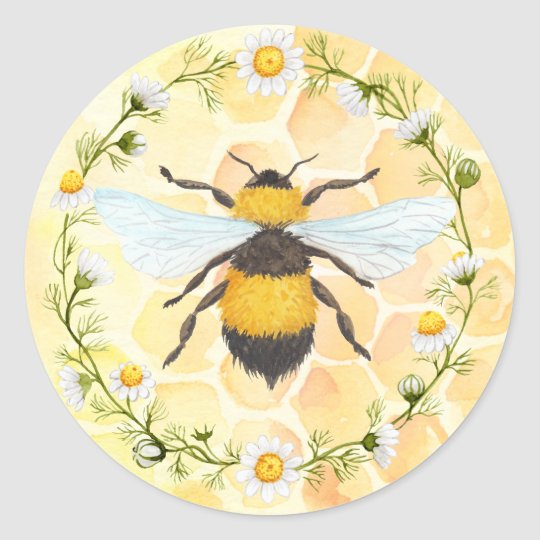 Bee Apiary Honey Jar Sticker