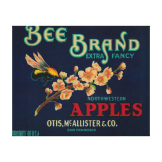 Bee Apple Crate Label Stretched Canvas Prints
