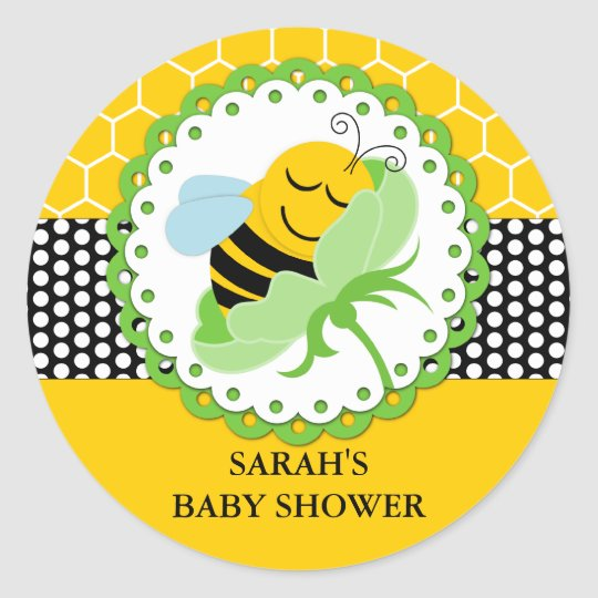Bee Baby Shower Personalised Stickers