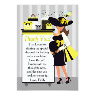 Bee Baby Shower Thank You Card Pregnant Woman 13 Cm X 18 Cm Invitation Card