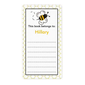 Bee Bookplate label for school books
