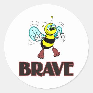 BEE BRAVE ROUND STICKER
