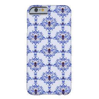 Bee bumblebee blue damask vintage insect pattern barely there iPhone 6 case