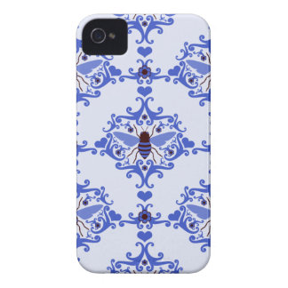 Bee bumblebee blue damask vintage insect pattern iPhone 4 cases