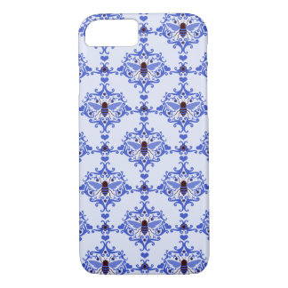 Bee bumblebee blue damask vintage insect pattern iPhone 7 case