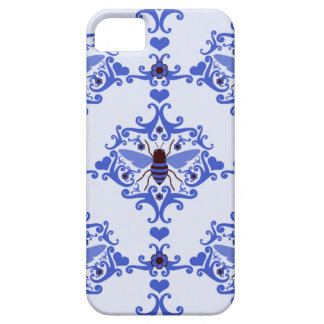 Bee bumblebee blue damask wallpaper pattern case