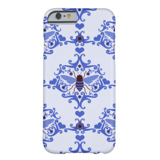 Bee bumblebee blue damask wallpaper pattern case barely there iPhone 6 case