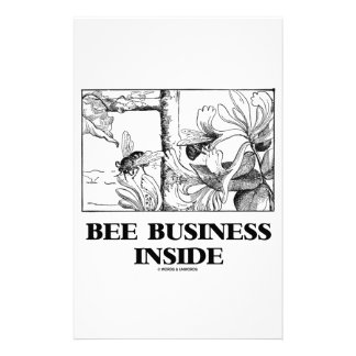 Bee Business Inside (Bees Foraging Nectar) Personalized Stationery