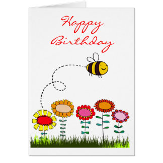 Bee Buzzing a Flower Garden Birthday Card