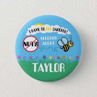 Bee Careful Nut Allergy Alert Button