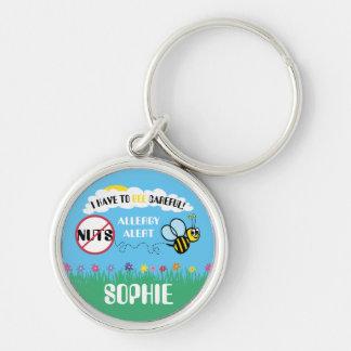 Bee Careful Nut Allergy Alert Keychain